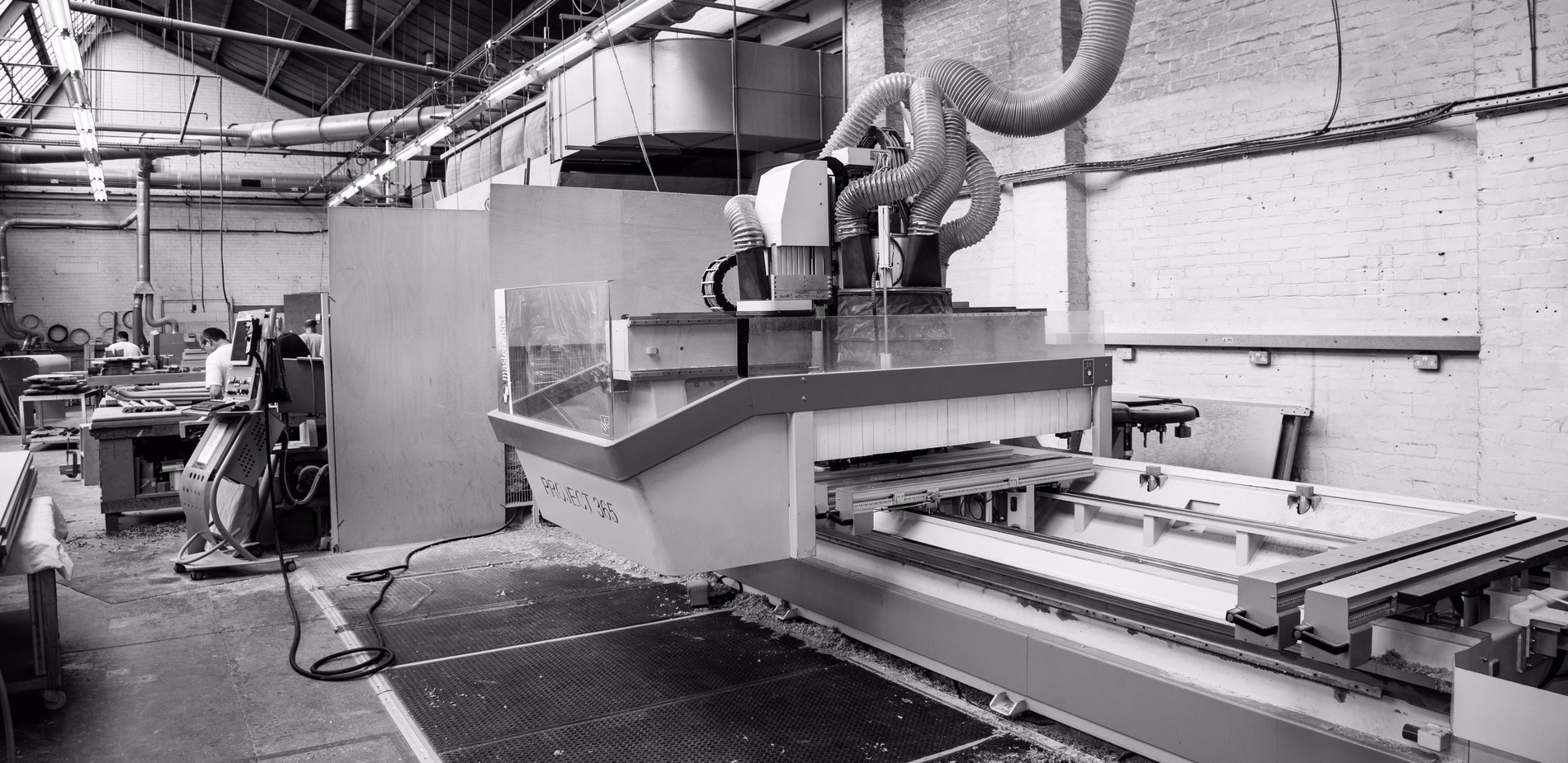 CNC milling machines at K&D Joinery factory in Dagenham