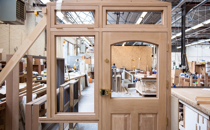 Manufacture of external door and windows in K and D Joinery factory.