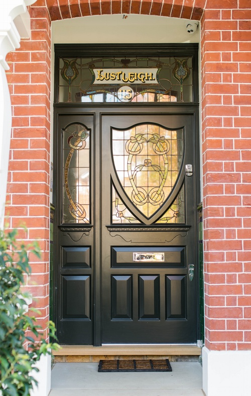 Wood front door - Stained glass window - K&D Joinery London